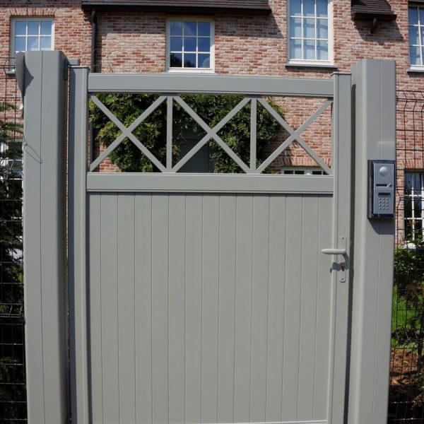 Portail aluminium semi plein bokage 03