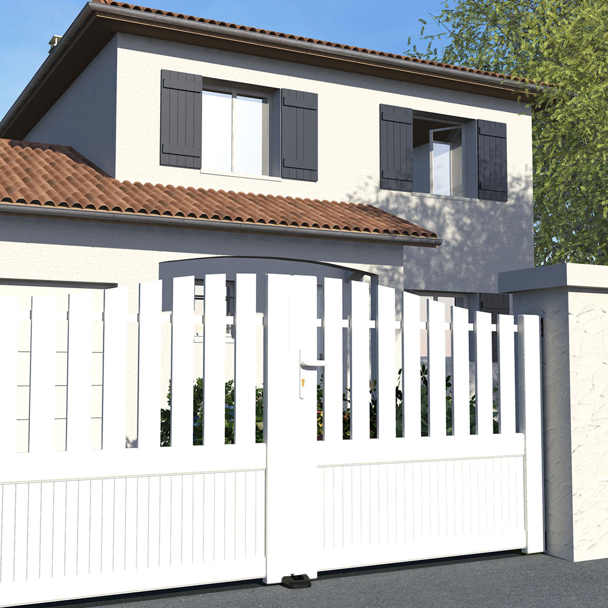 portail pvc plein et ajoure style moderne